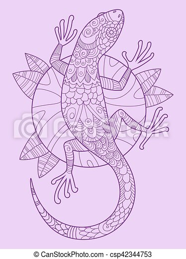 lizard color drawing vector illustration tattoo stencil lace pattern
