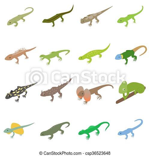 Lizard icons set, isometric 3d style - csp36523648