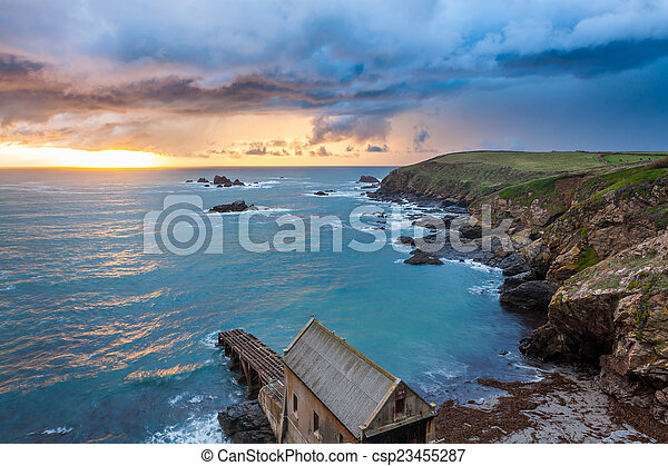 Lizard point cornwall sunset. Dramtic sunset over polpeor cove at ...
