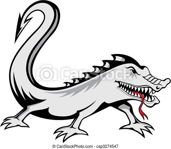 6c25ece4b Lizard tattoo vector. Evil lizard tattoo isolated on white background.