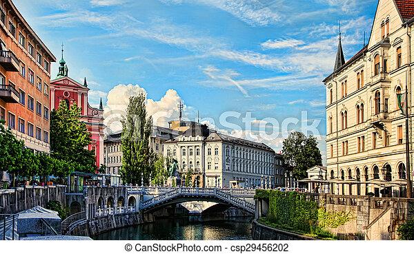 ljubljanica., -, 教会, ljubljana, 川, slovenia. - csp29456202