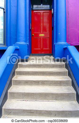 ljust, hänrycka, färgad, london, främre del, hem - csp39338689