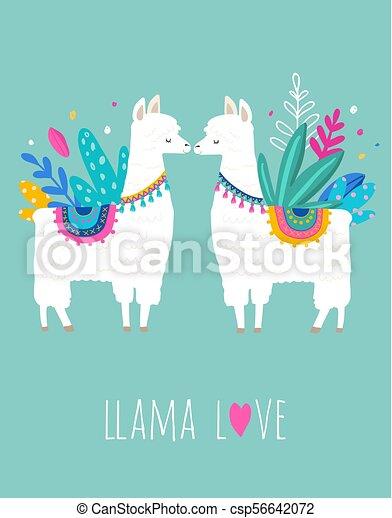 ebfe465b7 Llama Love Illustration, Cute Hand Drawn Elements And Design For Nursery  Design, Poster, Greeting
