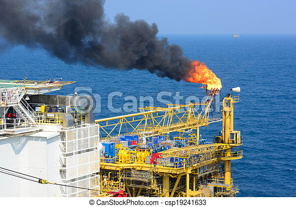 llamarada, aceite, gas, costa afuera, aparejo - csp19241633