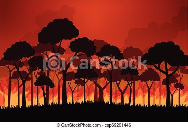 Fuegos forestales quemando árboles en llamas - ilustración vectorial - csp69201446
