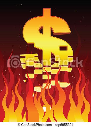 Economía en llamas - csp6955394