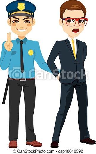 Policía arrestando a empresario criminal - csp40610592