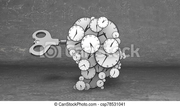 llave, clocks, cerebro, su, muchos, golpe - csp78531041