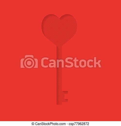 llave, corazón, vector, card-, ilustración, forma, día, valentino - csp77962872