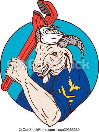 Una cabra marina sosteniendo un círculo de llave inglesa retro - csp39353380