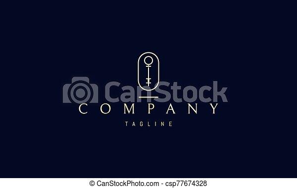 llave, dorado, imagen, vector, resumen, logotipo, oval. - csp77674328