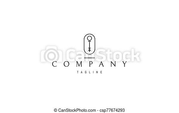 llave, imagen, vector, resumen, logotipo, oval. - csp77674293