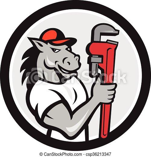 Caricatura del círculo de la llave inglesa del plomero de caballos - csp36213347