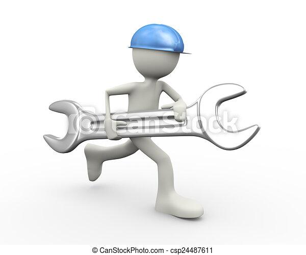 Hombre 3D corriendo con una llave grande - csp24487611