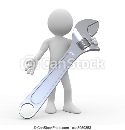 Un hombre con una enorme llave ajustable - csp5959353