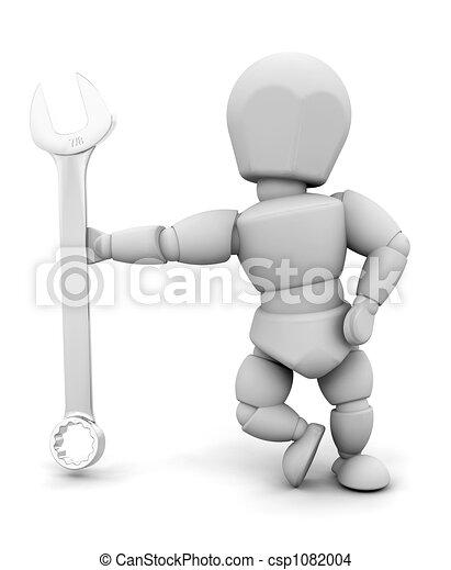 Persona con llave inglesa - csp1082004