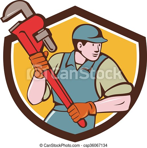 La caricatura de la llave inglesa del plomero - csp36067134