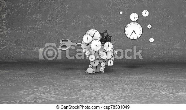 llave, retro, clocks, cerebro, su, golpe - csp78531049