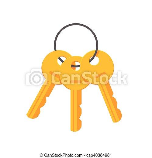 Llaves del vector del anillo clave ilustración aislada - csp40384981