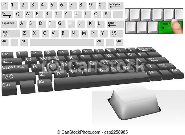 llaves, conjunto, computadora, elementos, teclado - csp2258985