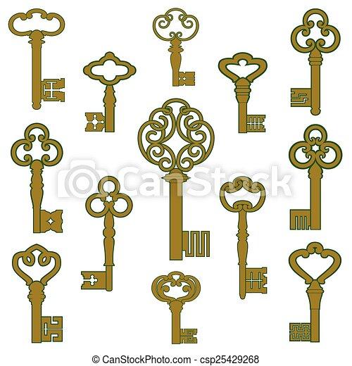 Las llaves de bronce con pátina - csp25429268