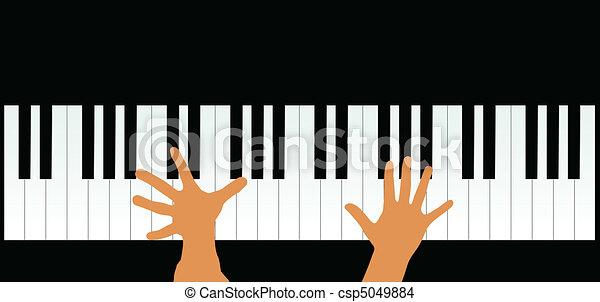 Manos sobre las llaves del piano, vector ilustrado - csp5049884