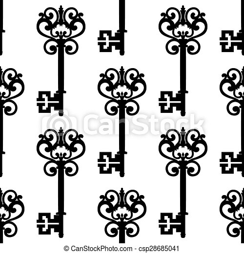 Llaves antiguas con arcos sin costura - csp28685041