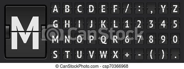 El alfabeto mecánico del aeropuerto negro y los números para mostrar la salida o la ilustración del vector de información de llegada - csp70366968