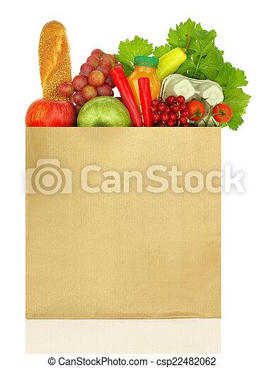 Bolsa de papel llena de alimentos aislados en blanco - csp22482062