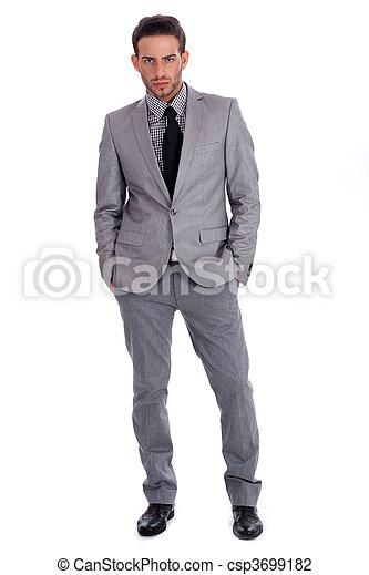 Un exitoso hombre de negocios con traje lleno de lentejas - csp3699182