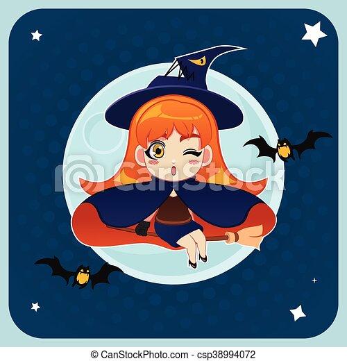 La bruja volando frente a la luna llena con una escoba mágica - csp38994072