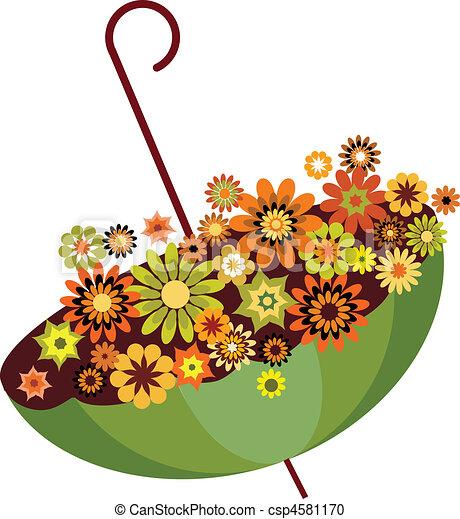 Un paraguas verde de otoño lleno de flores. Ilustración vector 1 - csp4581170