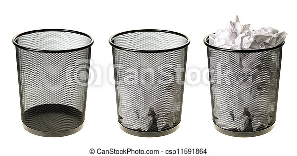 lleno, vacío, cubos de basuras - csp11591864