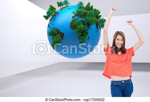 Imagen compuesta de adolescentes riendo mientras llevan ropa casual y levantan sus brazos - csp17304522