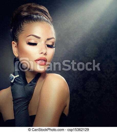 llevando, estilo, moda, belleza, vendimia, portrait., guantes, niña - csp15362129