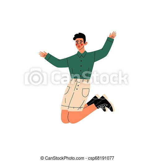 Un tipo feliz saltando, un joven con ropa informal celebrando eventos importantes, fiesta de baile, amistad, ilustración de vectores deportivos - csp68191077