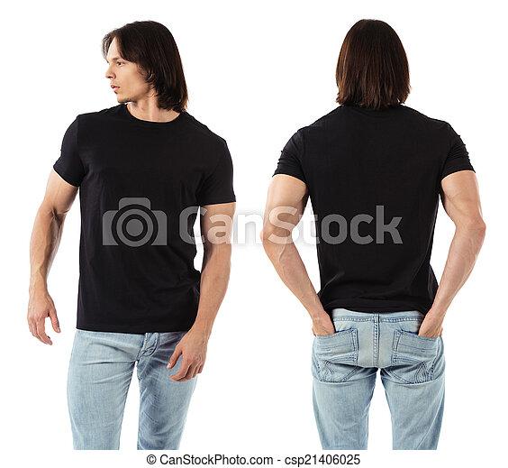 Un hombre con camisa negra en blanco - csp21406025