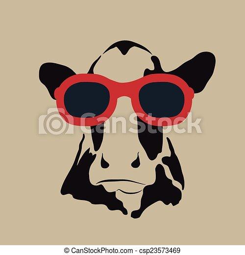 Imágenes de una vaca con gafas. - csp23573469