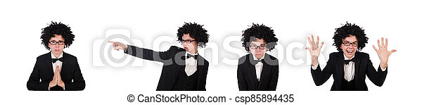 llevando, joven, peluca, afro, hombre - csp85894435
