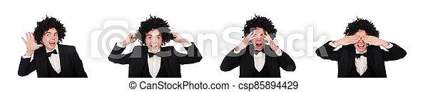llevando, joven, peluca, afro, hombre - csp85894429