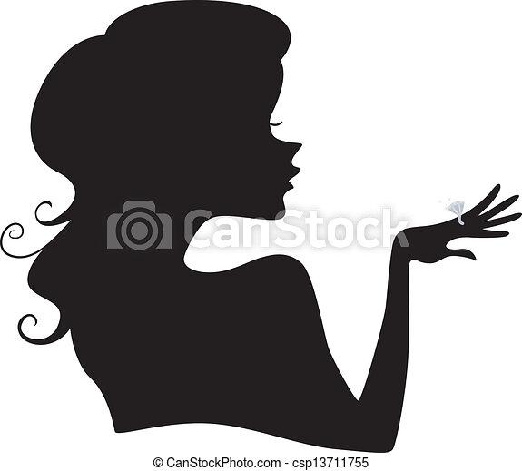 Silueta de una chica con un anillo de diamantes - csp13711755