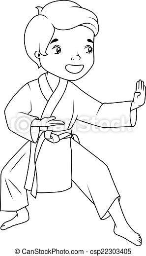 Llevando, niño, poco, colorido, karate practicante, kimono, book: