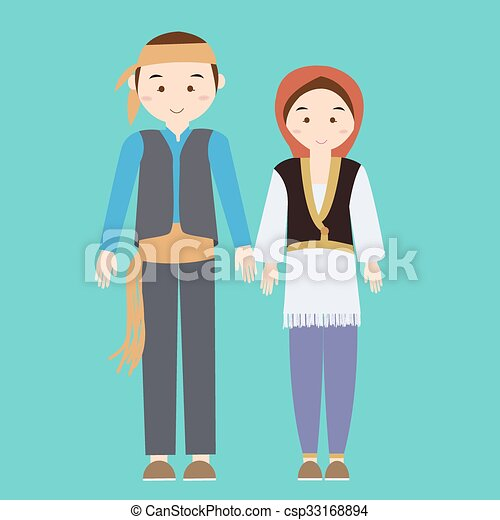 Llevando Pavo Mujer Turco Pareja Ilustración Tradicional