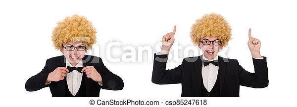 llevando, peluca, afro, joven - csp85247618