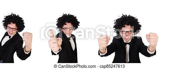 llevando, peluca, joven, afro - csp85247613