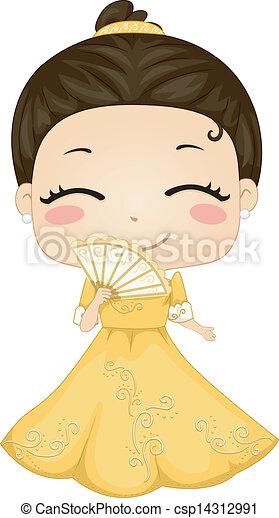 La pequeña filipina que lleva traje nacional de baro't saya - csp14312991