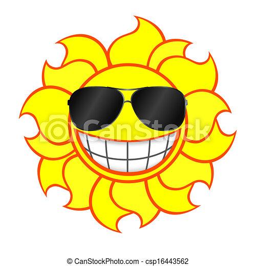 Sol sonriente con gafas de sol - csp16443562