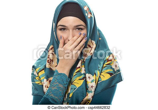 llevando, tímido, hembra, hijab - csp44662832