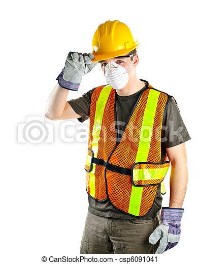 llevando, trabajador, construcción, equipo de seguridad - csp6091041