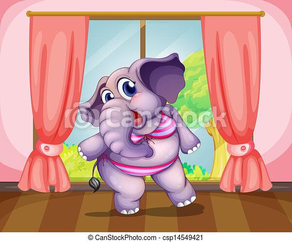 Un elefante usando ropa de baño - csp14549421